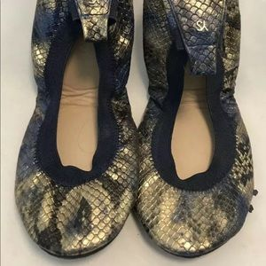 YOSI SAMRA SAMARA Size 7 Snakeskin Ballet Flats